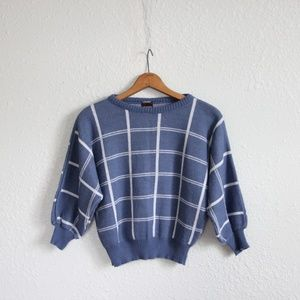 Vintage Plaid Sweater 3/4 Sleeve Size Medium